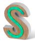 Green LED wood letter S sign Sale - Illuminated Art Sale