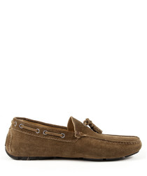 Men's light brown suede tassel moccasins