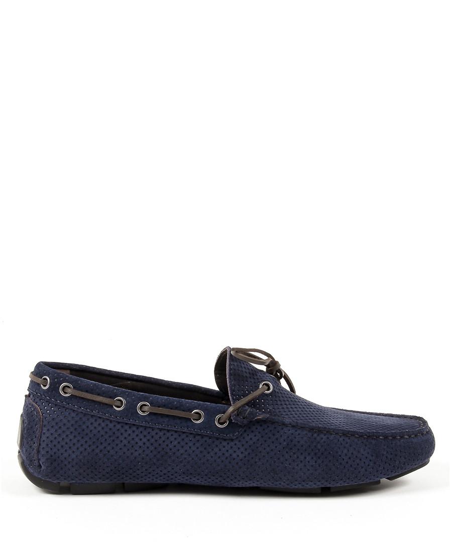 Dark blue suede textured moccasins Sale - Versace 1969 abbigliamento sportivo
