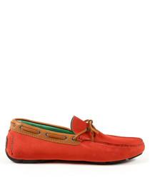Men's Red & tan suede moccasins