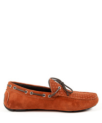 Tan suede braided lace moccasins