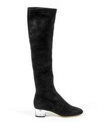 Black suede knee-high heeled boots
