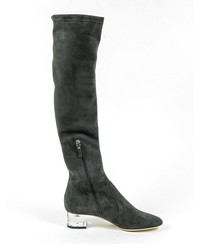 Grey suede knee-high heeled boots