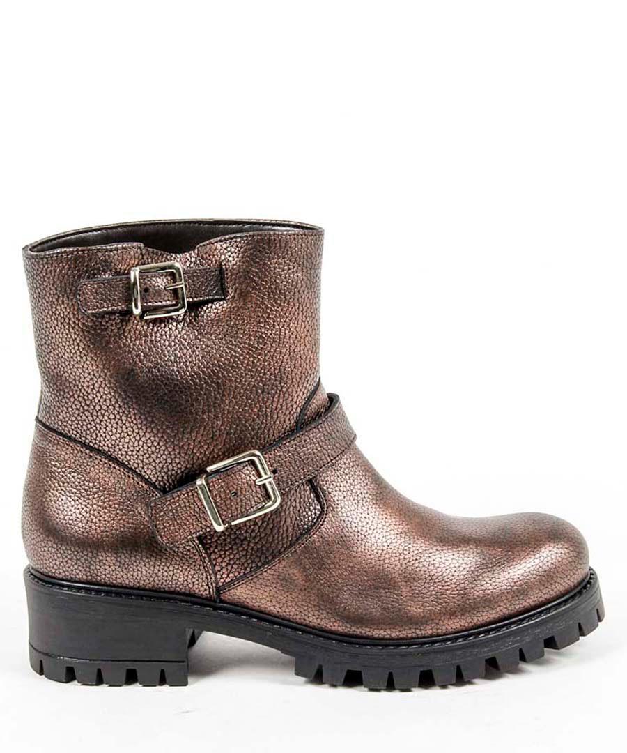Bronze-tone leather buckle boots Sale - v italia by versace 1969 abbigliamento sportivo srl milano italia