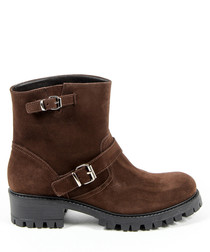 Brown suede buckle boots