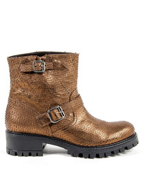 Bronze-tone leather textured boots