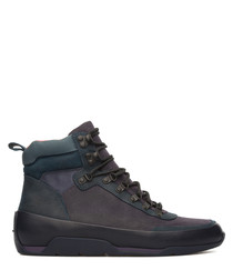 Men's blue leather high top sneakers