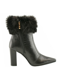 Black leather furry heeled ankle boots