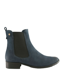 Blue leather Chelsea boots