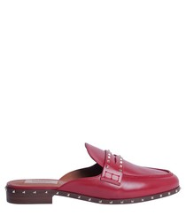 Soul Rockstud red leather mules