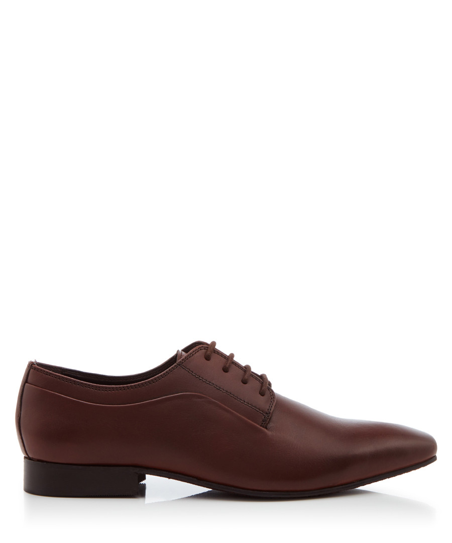 Rhymes brown leather Derby shoes Sale - dune
