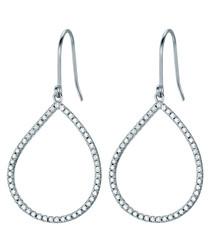 Silver-tone detail loop earrings