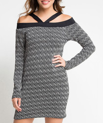 Grey off-shoulder long sleeve mini dress