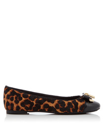 Alice black leather leopard print pumps