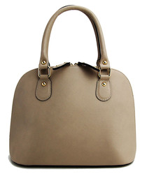 Sunny taupe leather curved grab bag