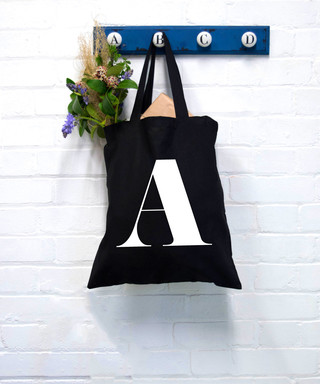 4e0c47c9a Black pure cotton letter A tote bag Sale - Shop Sharks Sale