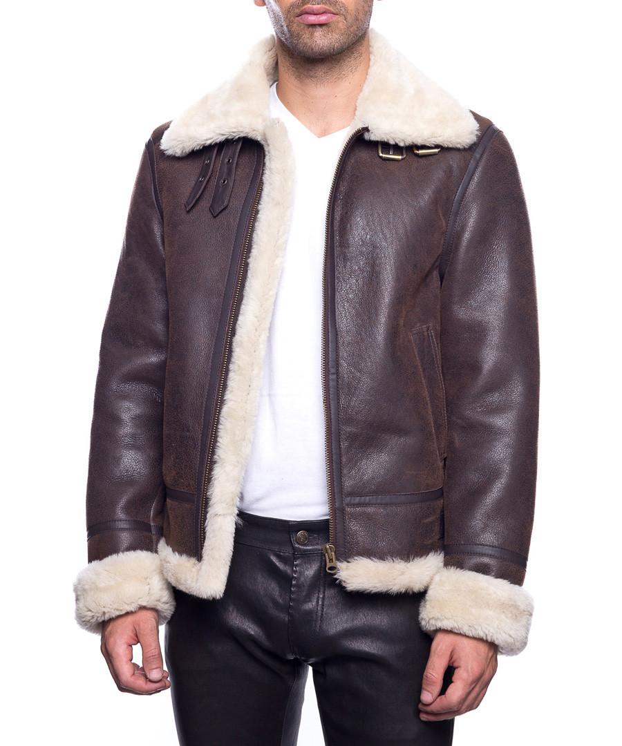 Men's Bombardier brown lambskin jacket Sale - john & yoko