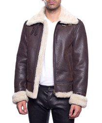Men's Bombardier brown lambskin jacket
