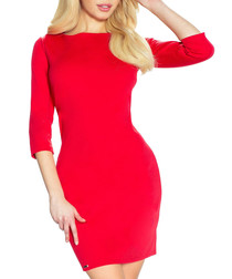 Red 3/4 sleeve bodycon mini dress