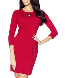 Maroon 3/4 sleeve cut-out detail dress
