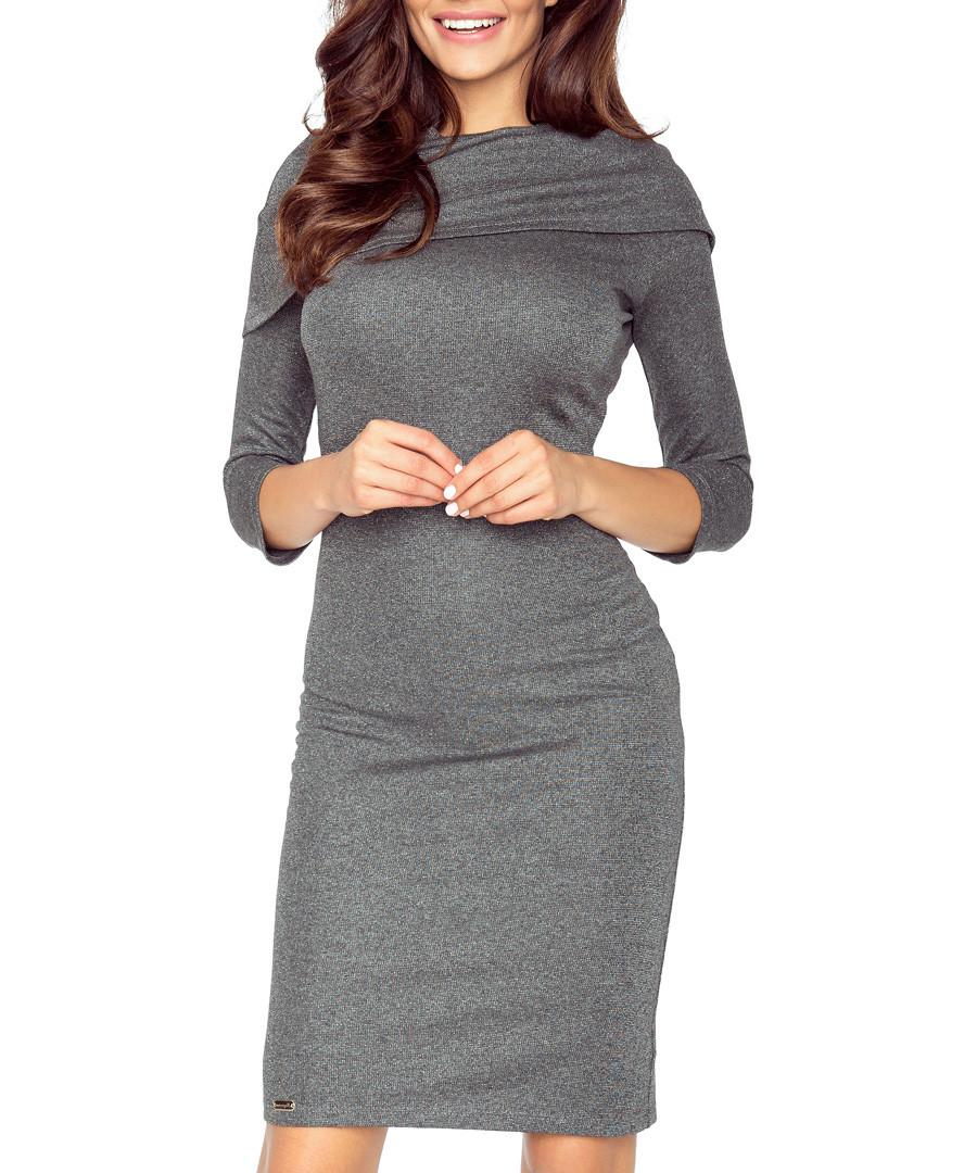Dark grey fold-down midi dress Sale - bergamo