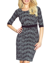 Grey rose print 3/4 sleeve dress