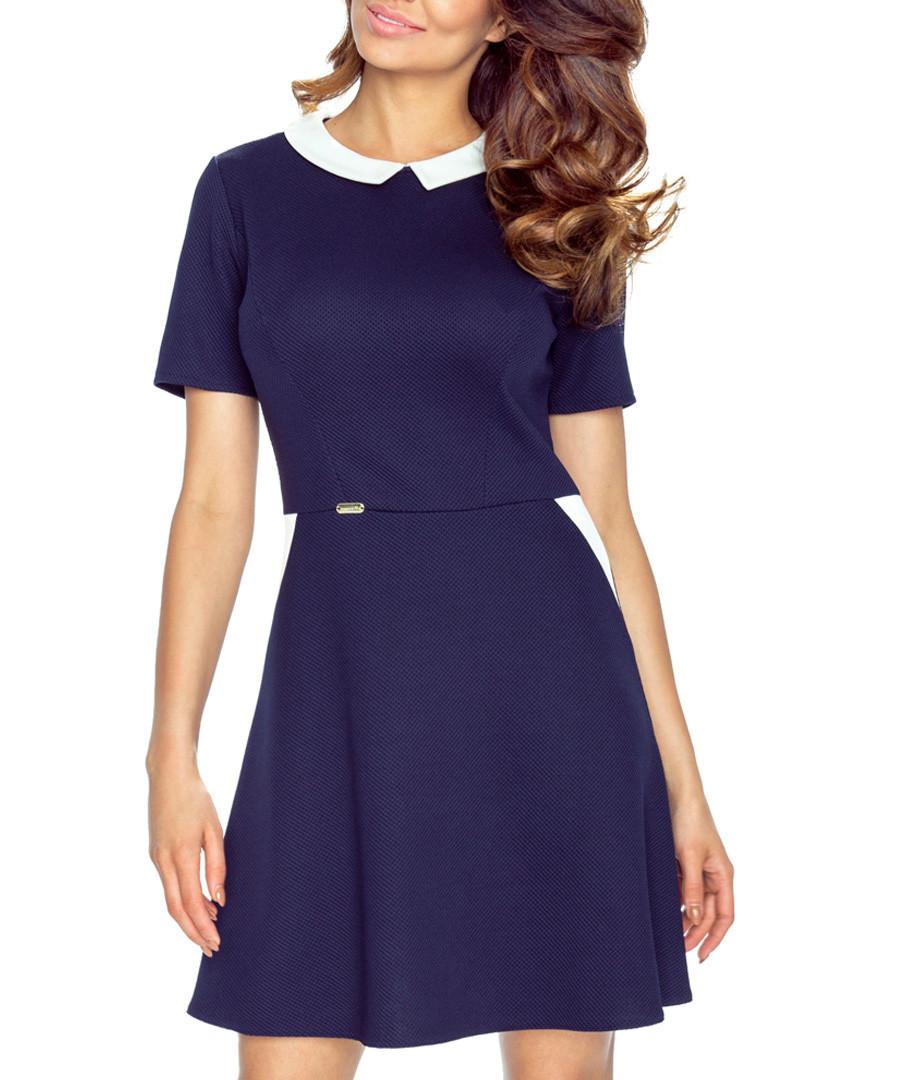 Navy & white collar short-sleeve dress Sale - bergamo