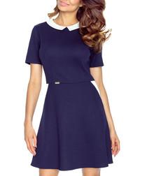 Navy & white collar short-sleeve dress