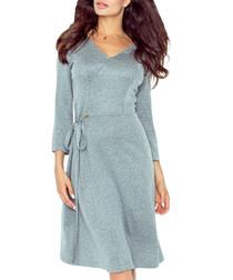 Grey side tie knee length dress