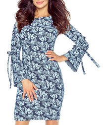 Blue butterfly print tie sleeves dress