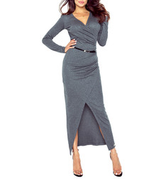 Dark grey V-neck wrap maxi dress
