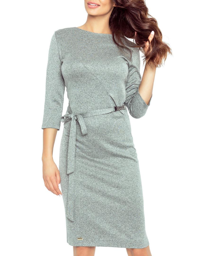 Grey belted knee-length dress Sale - bergamo
