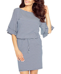 Navy & white stripe frill sleeve dress