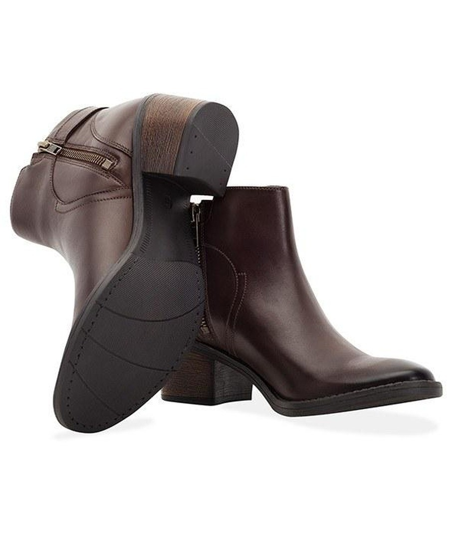LADIES BROWN BUCKLE ANKLE BOOT Sale - REDFOOT
