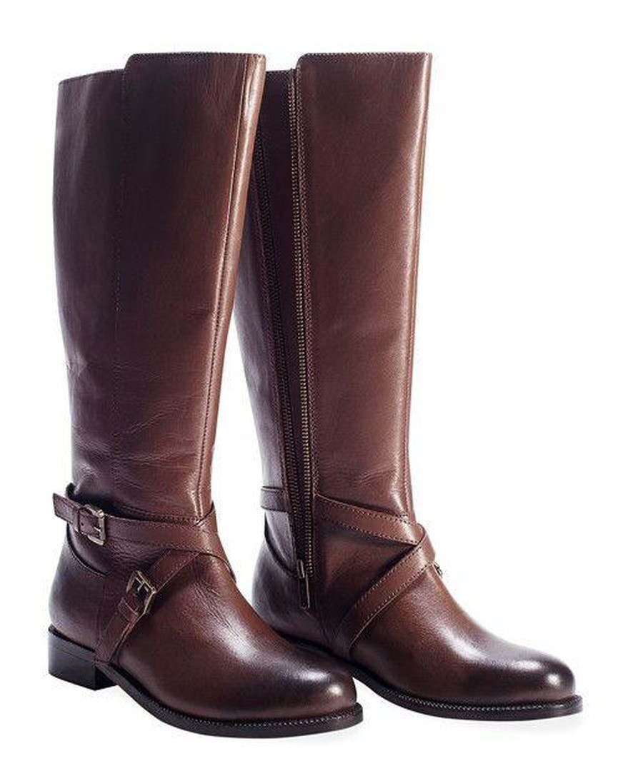 LADIES BROWN X-OVER TWINZIP BOOT (LEATHER) Sale - REDFOOT