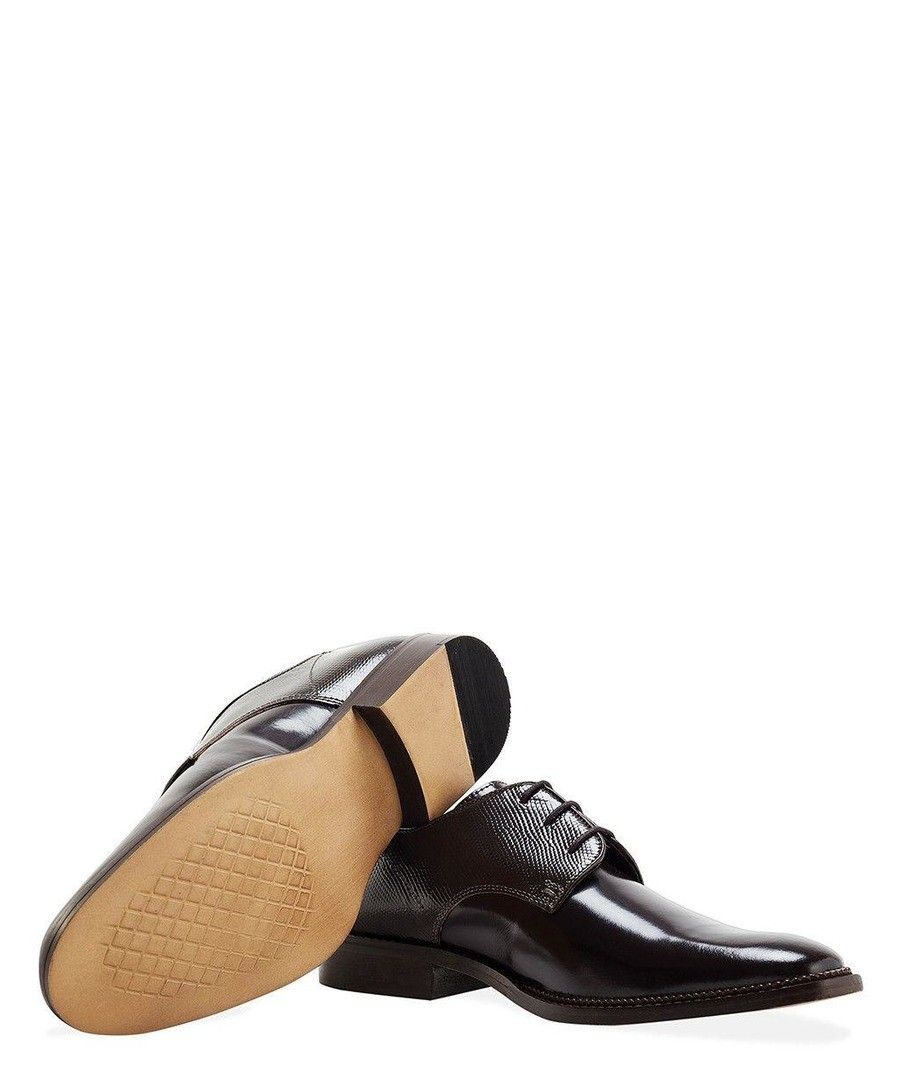 MENS BROWN PATENT EMBOSSED DERBY SHOE Sale - REDFOOT