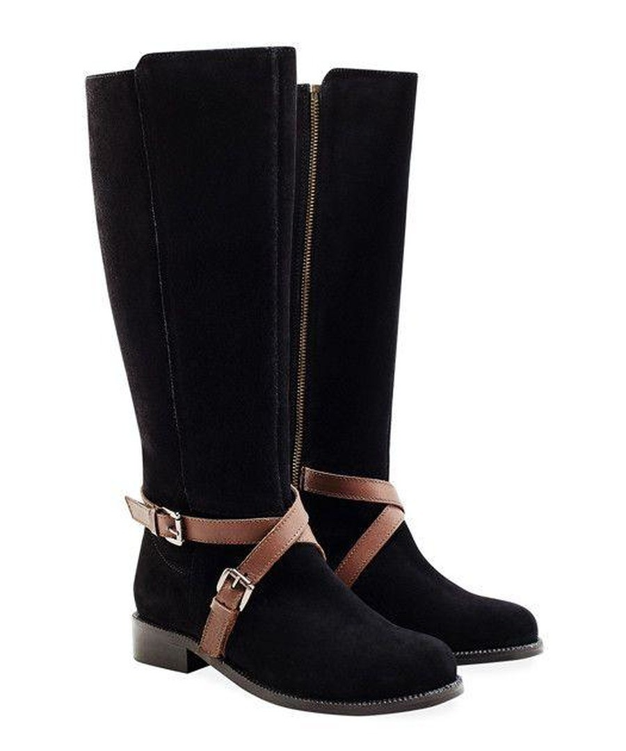 00079 LADIES BLACK X-OVER TWINZIP BOOT (SUEDE) Sale - REDFOOT