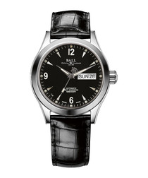Engineer black leather lit watch