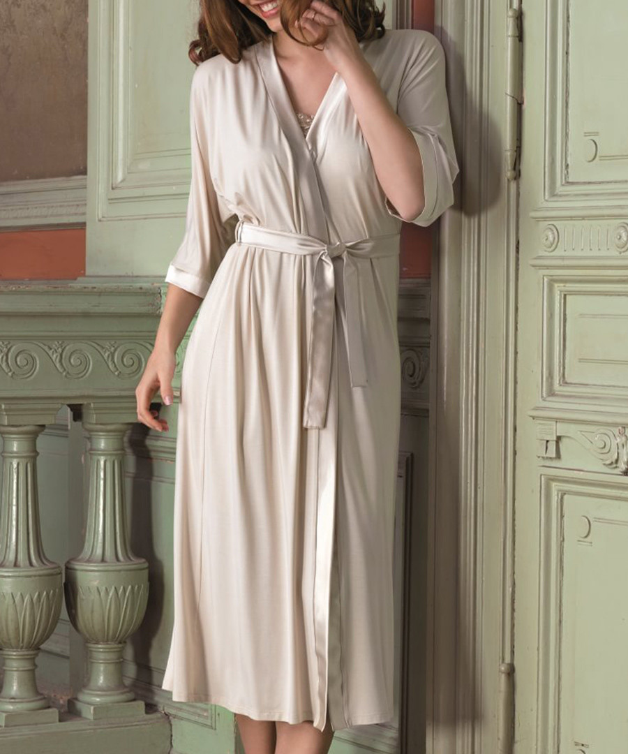 Discount Beige 3/4 sleeve dressing gown | SECRETSALES