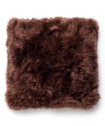 Brown sheepskin cushion 30cm