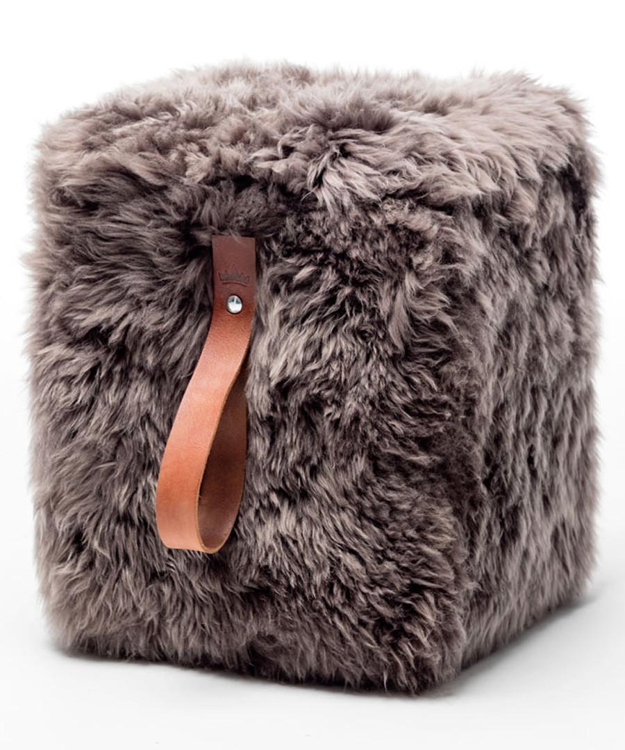 Taupe & brown sheepskin square pouf 45cm Sale - royal dream