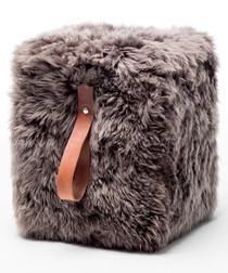 Taupe & brown sheepskin square pouf 45cm