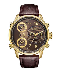 G4 Leather gold diamond & leather watch