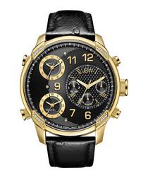 G4 Gold-tone diamond & leather watch