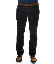Navy pure cotton slim fit trousers