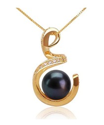 Black Freshwater Pearl Spiral Pendant and 18K yellow gold plated