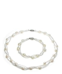 White Freshwater Pearl Twisted Necklace and Bracelet Set and Silver Clasp
