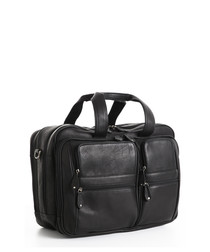 Black leather dual travel laptop bag