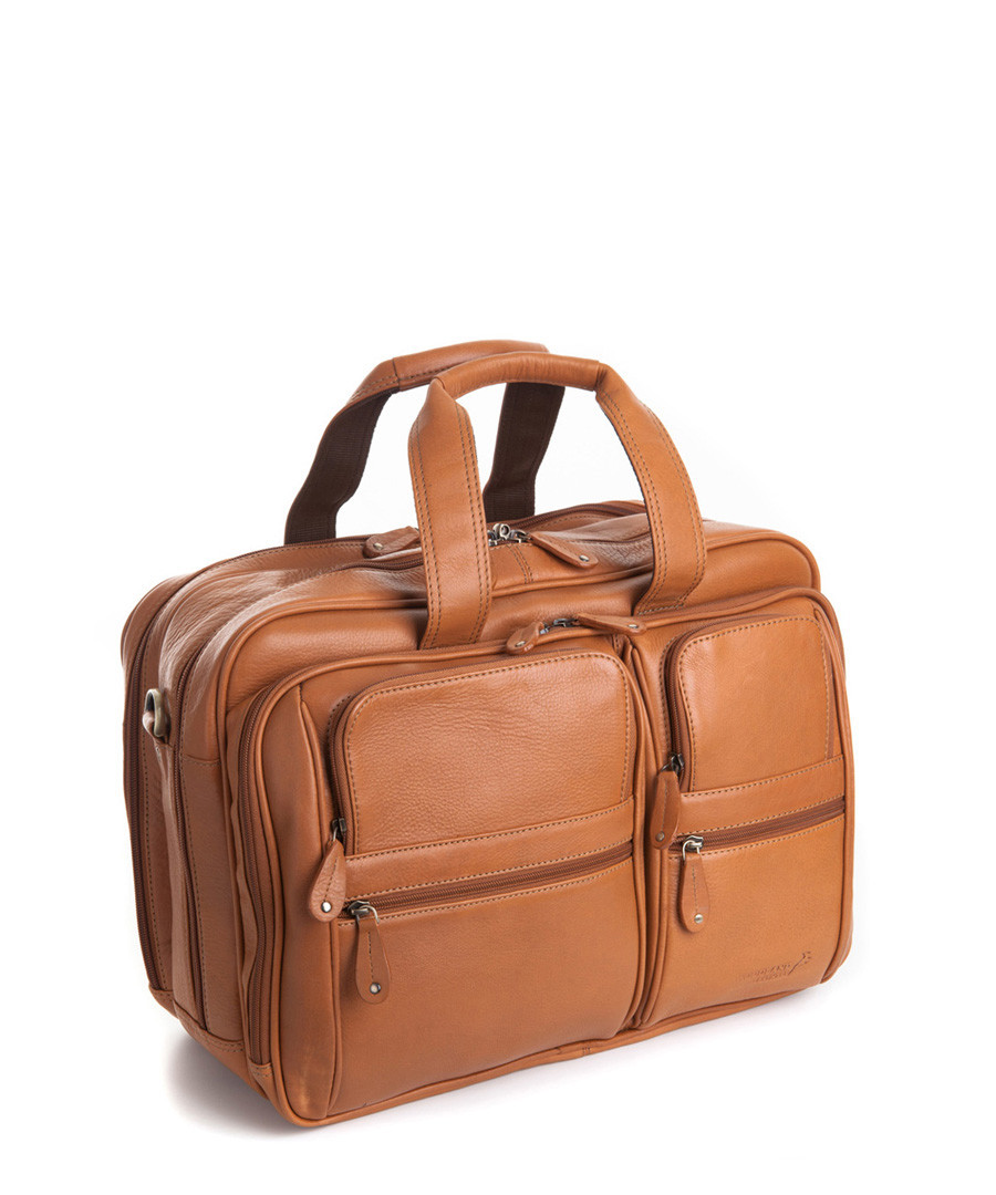 Tan leather dual travel laptop bag  Sale - woodland leathers
