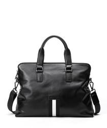 Black leather stripe detail briefcase